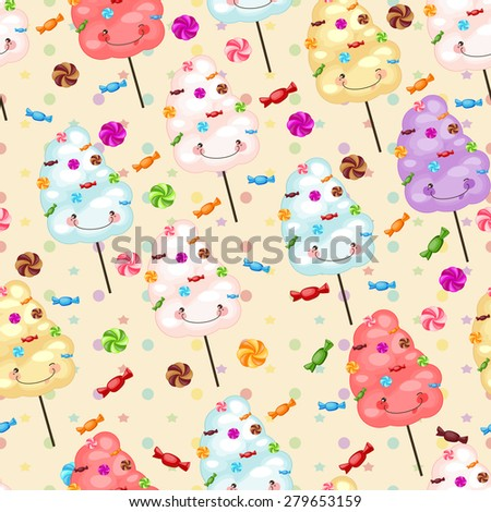 Seamless pattern of sweets, cotton candy, lollipops, little colored stars, circles. Baby gift seamless background of cotton candy, candy, candy. - stock vector