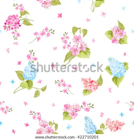 Seamless pattern of Syringa flowers.