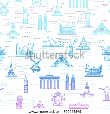 Seamless pattern of the attractions of the world, outline drawing for your application. The most famous place for travel - stock vector