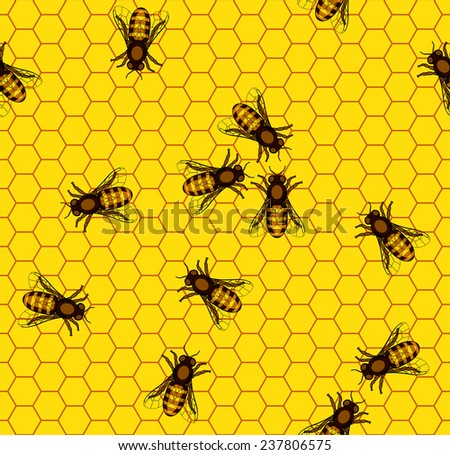Seamless pattern of the bee on honeycombs background - stock vector
