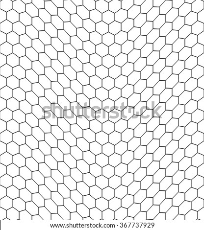 Seamless pattern of the bent hexagonal net - stock vector