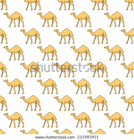 Seamless pattern of the cartoon camels - stock vector