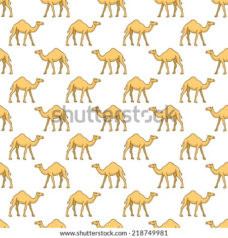 Seamless pattern of the cartoon camels