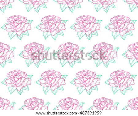 Seamless pattern of the contour rose flower icon