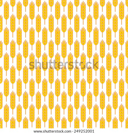 Seamless pattern of the ears of wheat - stock vector