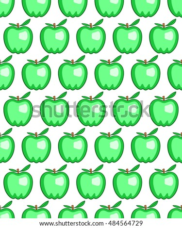 Seamless pattern of the green apples