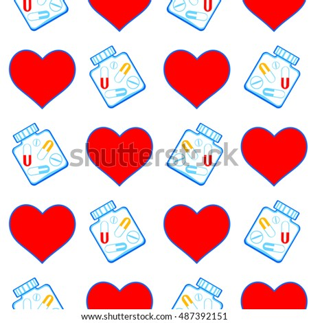 Seamless pattern of the heart and tablet symbols
