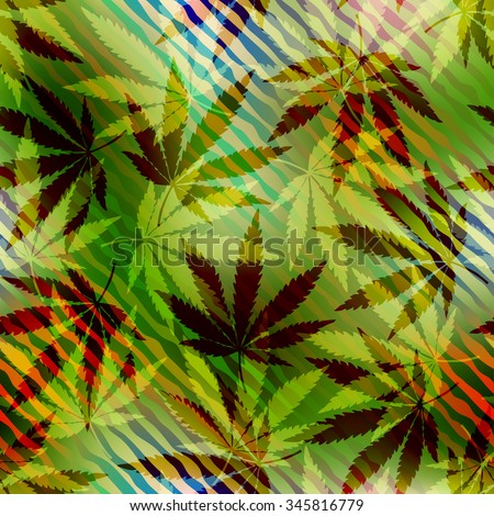 Seamless pattern of the hemp leaves on blurred background. - stock vector