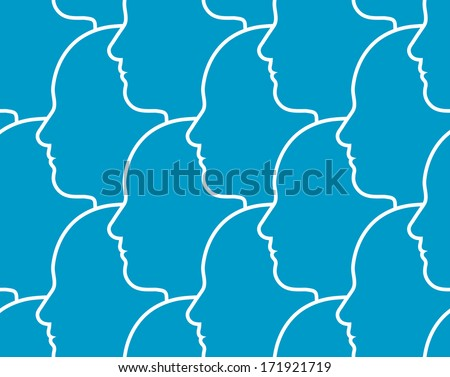 Seamless pattern of the outline of human heads in profile overlapping each other all facing in the same direction - stock vector