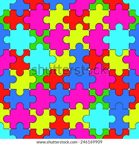 Seamless pattern of the puzzle elements   - stock vector