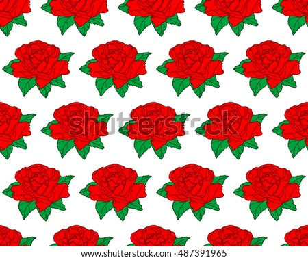 Seamless pattern of the red rose flowers