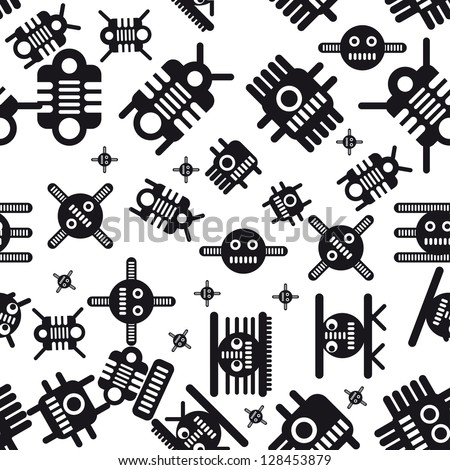 Seamless pattern of the robots and monsters