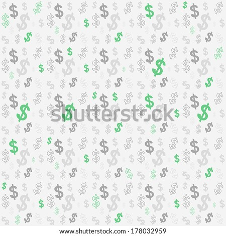 Seamless pattern of the symbols of dollar currency. - stock vector