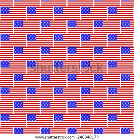 Seamless pattern of the United States flags - stock vector
