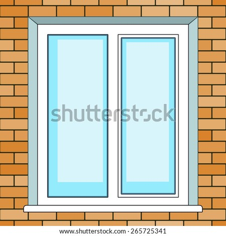 Seamless pattern of the window on brick wall background