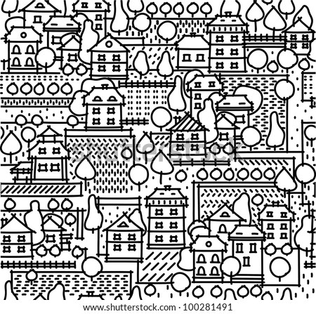 Seamless pattern of town - stock vector