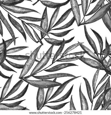 Seamless pattern of tropical foliage. - stock vector