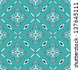 Seamless pattern of turquoise Moroccan mosaic - stock vector