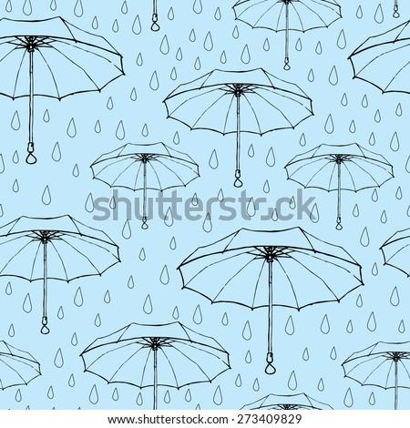 Seamless pattern of umbrellas. Linear sketch. Easy editable vector illustration - stock vector