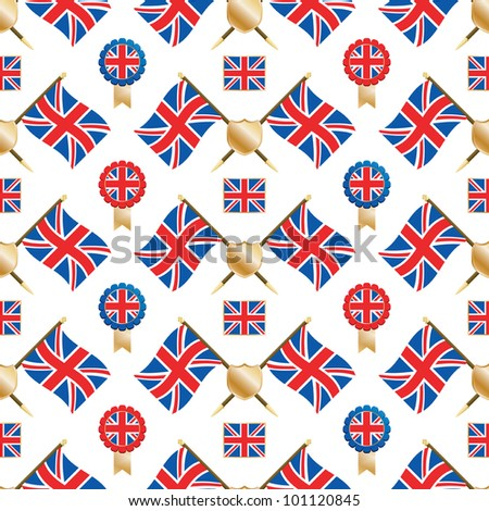 seamless pattern of union jack flags and emblems, with clipping path - stock vector