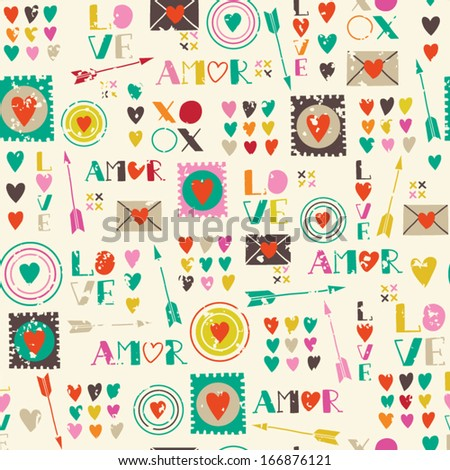 Seamless pattern of Valentines day with colorful hearts and letters in retro style. Valentines hearts. Kids elements for scrap booking. Childish background. Hand drawn vector illustration. - stock vector