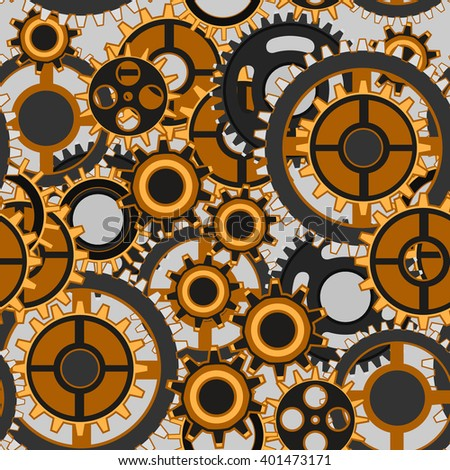 Seamless pattern of various gears. Steampunk style vector background. - stock vector