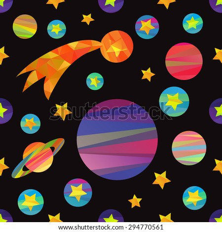 seamless pattern of vector images of planets and the moon. fun colorful papercut style - stock vector
