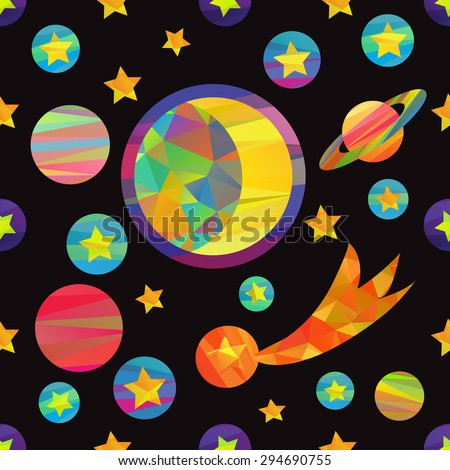 seamless pattern of vector images of planets and the moon. papercut style - stock vector