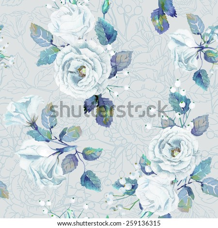 Seamless pattern of vector watercolor blue roses. Vector illustration of flowers. Vintage. Can be used for gift wrapping paper, the background of Valentine's day, birthday, mother's day and so on. - stock vector