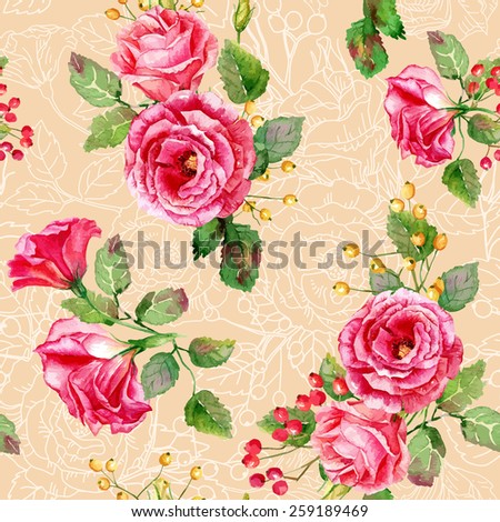 Seamless pattern of vector watercolor red roses. Illustration of flowers. Vintage. Can be used for gift wrapping paper, the background of Valentine's day, birthday, mother's day and so on. - stock vector