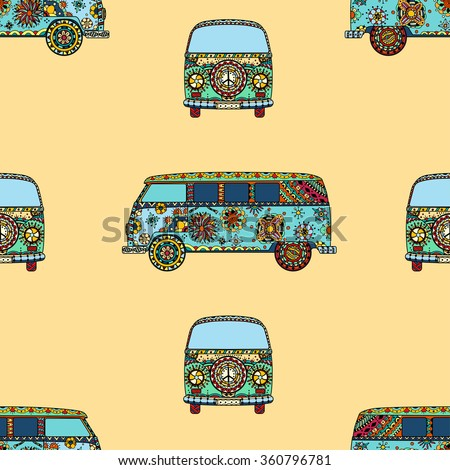 Seamless Pattern of Vintage car a mini van in zentangle style. Hand drawn image. The popular bus model in the environment of the followers of the hippie movement. Vector illustration.  - stock vector
