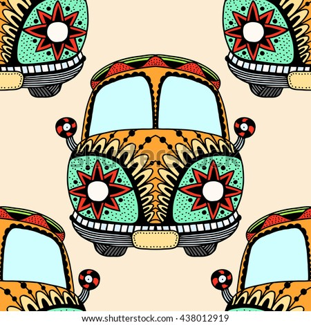 Seamless Pattern of Vintage car. Hand drawn image. The popular bus model in the environment of the followers of the hippie movement. Vector illustration.