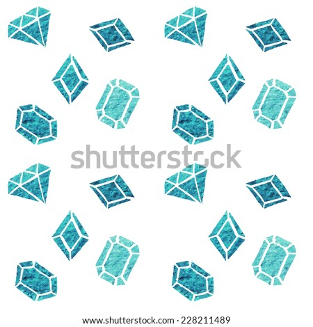 Seamless pattern of watercolor diamonds and crystals. vector jewels - stock vector