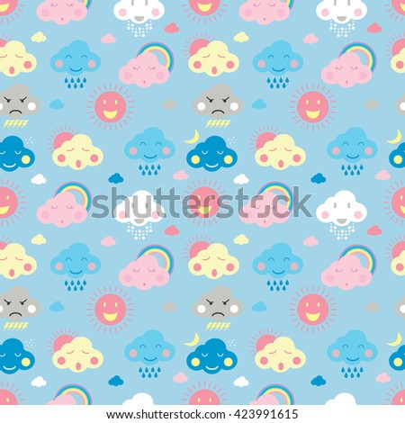 Seamless pattern of weather in various emotion