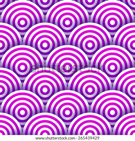 Seamless pattern of white and purple striped circles with drop shadows. Vector illustration - stock vector
