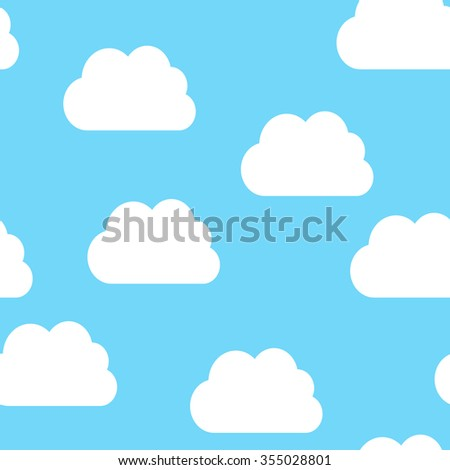 Seamless pattern of white clouds on light blue sky. EPS 8 vector illustration