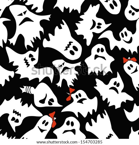 Seamless pattern of white ghosts with different faces on a black background - stock vector