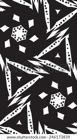 Seamless pattern of white polygonal shapes over black - stock vector