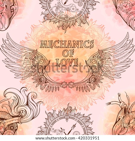 Seamless pattern of wings, heart and clockwork in steampunk style. - stock vector