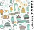 Seamless pattern of winter woollies - stock vector