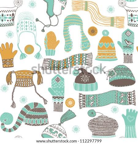 Seamless pattern of winter woollies - stock vector