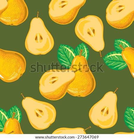 seamless pattern of yellow pear and pear slices - stock vector
