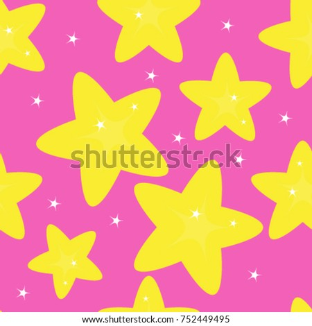 seamless pattern of yellow stars on pink background, vector illustration