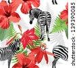 seamless pattern of zebras - stock vector
