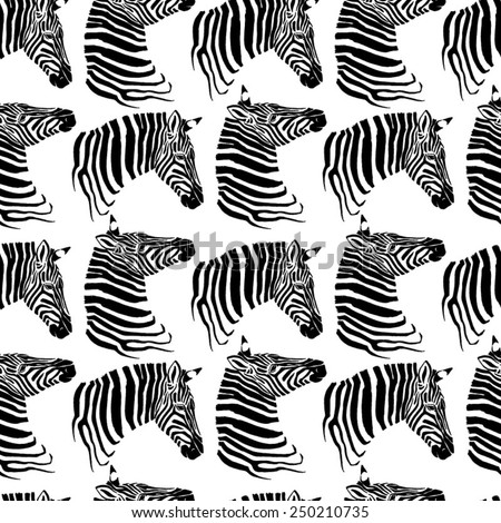 Seamless pattern of zebras - stock vector