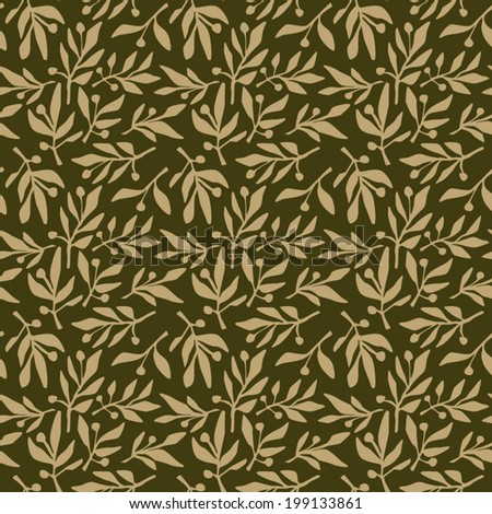 Seamless pattern olive branch - stock vector