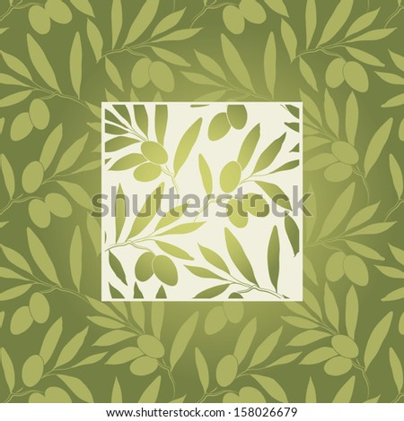 Seamless pattern olive on beigea and olive papers. Vector olive  branch. - stock vector