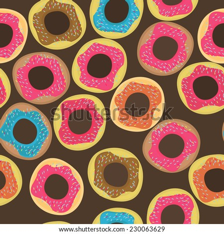 Seamless pattern on a brown background with colorful delicious donuts. - stock vector
