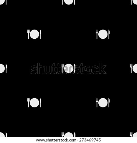 Seamless pattern on a theme meal with a plate and cutlery knife and fork on a white background in black