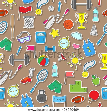 Seamless pattern on a theme sports and physical development , simple colored stickers on a brown  background